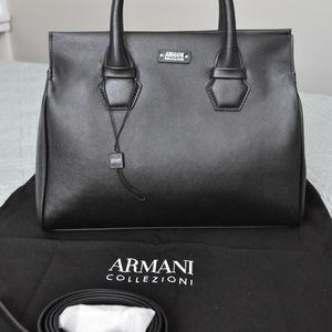 New Armani Collezioni Black Leather Satchel 0493ac7a980e7
